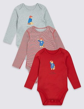 Marks and Spencer PaddingtonTM 3 Pack Pure Cotton Bodysuits