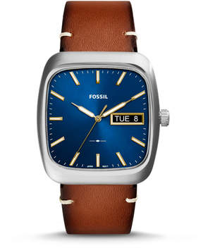 Fossil Rutherford Three-Hand Day-Date Light Brown Leather Watch
