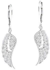 Diamonique Angel Wing Leverback Earrings, Sterling