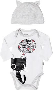 Karl Lagerfeld Cat Printed Cotton Jersey Bodysuit & Hat