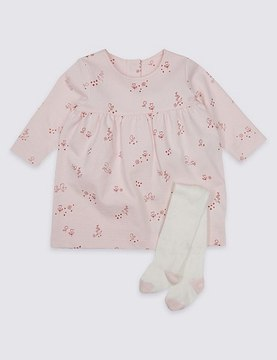 Marks and Spencer All Over Print Baby Dress with Tights