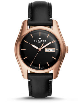 Fossil The Curator Series x Benjamin Vandiver Three-Hand Day-Date Black Leather Watch