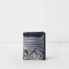 River Island Mens Blue bike photo print card holder wallet