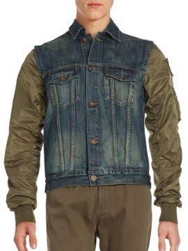 Mostly Heard Rarely Seen Militia Button-Down Denim Vest Jacket