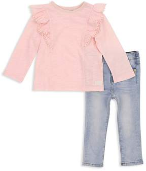 7 For All Mankind Girls' Ruffle Top & Skinny Jeans Set - Baby
