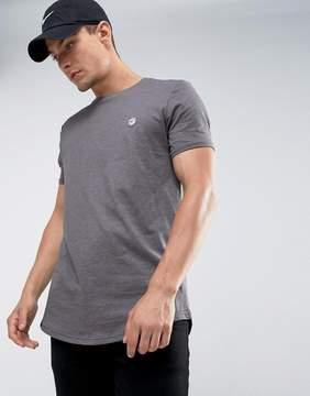 Le Breve Logline Curved Hem Twill Shoulder T-Shirt