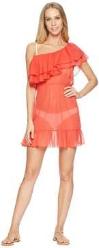Luli Fama Viva Cuba Cabaret Ruffled One Sleeve Short Dress Cover-Up Women's Swimwear