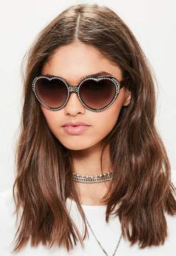 Missguided Brown Diamante Studded Heart Sunglasses
