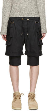 Balmain Black Layered Cargo Shorts