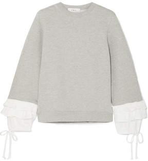Clu Ruffle-trimmed Cotton-blend Jersey Sweatshirt - Gray
