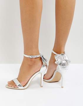 Glamorous Bow Back Silver Heeled Sandals