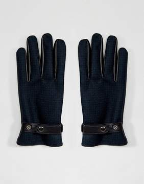 Asos Leather Gloves In Green Check