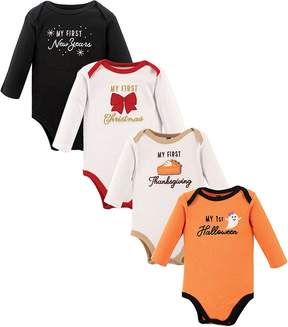 Hudson Baby White & Orange Holiday Bodysuit Set - Infant