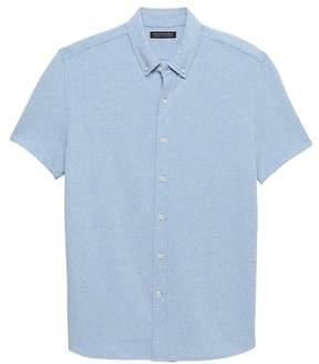 Banana Republic Grant Slim-Fit Stretch Cotton-Linen Knit Shirt