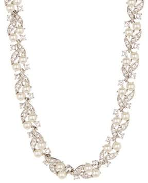 Ben-Amun Pave Crystal & Faux Pearl Cluster Collar Necklace