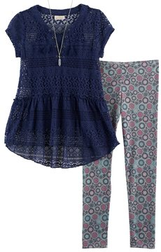 Self Esteem Girls 7-16 Lace Top & Printed Leggings Set with Necklace