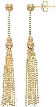 Ball 14k Gold Stud Tassel Drop Earrings
