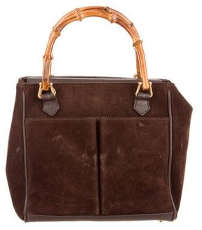 Gucci Suede Bamboo Mini Tote - BROWN - STYLE