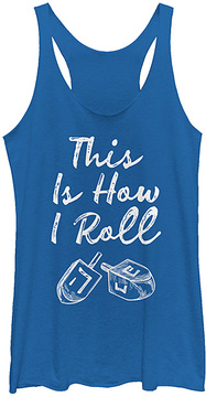 Fifth Sun Heather Royal 'This is How I Roll' Dreidel Racerback Tank