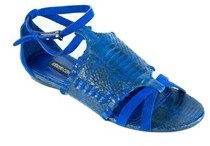 Roberto Cavalli Women's Blue Python Embossed Sandals.