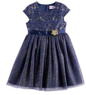 Nannette Girls 4-6x Sequin & Glitter Knit Dress