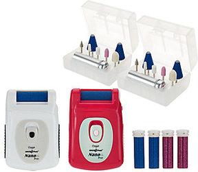 Emjoi Set of 2 Micro Pedi Nano Pro Callus Removers w/ Manicure Kit