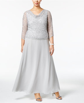 J Kara Plus Size Draped Sequined Gown