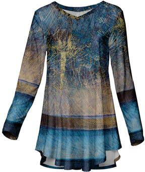Azalea Blue & Beige Abstract Long-Sleeve Tunic - Women & Plus