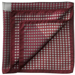 Aspinal of London Savile Row Silk Twill Pocket Square In Burgundy Silver