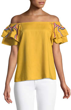 Catherine Malandrino Tiered-Sleeve Off-The-Shoulder Blouse