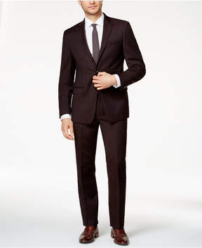 Calvin Klein Men's Slim-Fit Burgundy Flannel Suit