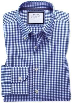 Charles Tyrwhitt Slim Fit Button-Down Business Casual Non-Iron Royal Blue Cotton Dress Shirt Single Cuff Size 14.5/33