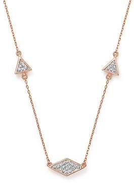 Adina 14K Rose Gold Pavé Diamond Triangle Necklace, 12.5