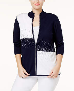 Belldini Plus Size Colorblocked Cardigan