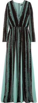 Elie Saab Lace-trimmed Devoré-chiffon Gown - Azure