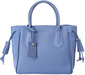 Longchamp Penelope Fantaisie Small Leather & Suede Tote - BLUE - STYLE