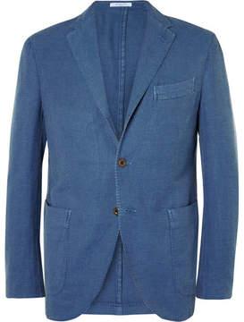 Boglioli Blue Slim-Fit Cotton And Linen-Blend Hopsack Blazer