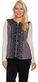Bob Mackie Bob Mackie's Sequin and Embroidered Fleece Vest