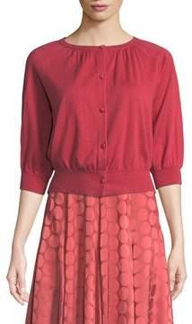 Co Bubble-Sleeve Silk-Cashmere Knit Cardigan