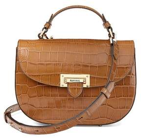 Aspinal of London | Letterbox Saddle Bag In Deep Shine Vintage Tan Croc | Deep shine vintage tan croc
