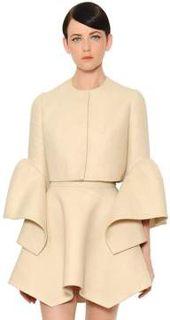 DELPOZO Ruffled Cuffs Cropped Linen Jacket