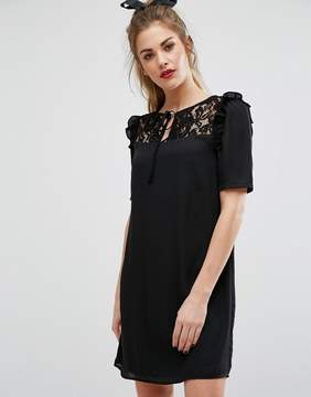 Fashion Union Short Sleeve Dress With Lace Panel And Tie Up Bow Neck