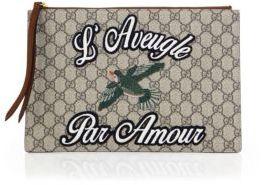 Gucci Merveilles Leather & Canvas Pouch - BEIGE - STYLE