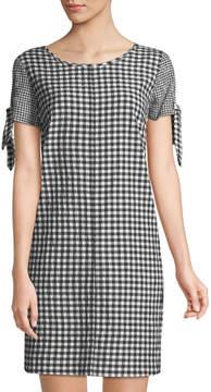 Neiman Marcus Flutter-Sleeve Gingham Shift Dress
