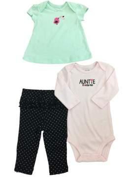 Carter's Infant Toddler Girls Mint Bird Shirt Pink White Bodysuit & Leggings 3-PC Outfit