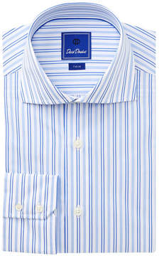 David Donahue Striped Trim Fit Dress Shirt