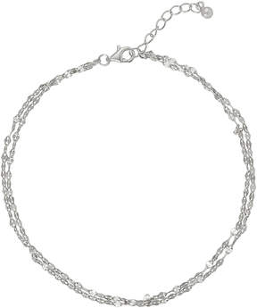 Bliss Sterling Silver Sparkle-Chain Double-Layered Anklet
