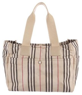 Burberry Leather-Trimmed Canvas Tote - NEUTRALS - STYLE