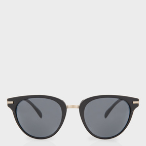Paul Smith Matte Onyx And Brushed Gold 'Jaron' Sunglasses