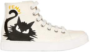 Fendi Cat Cotton Canvas High Top Sneakers
